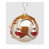 Palla Kus glas Kersthanger 12cm rood goud