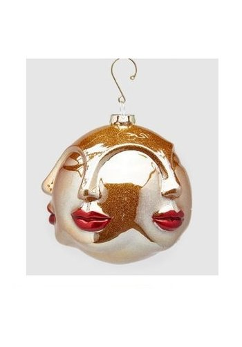Abelia.nl Kerst Palla Kus glas Kersthanger Rood Goud