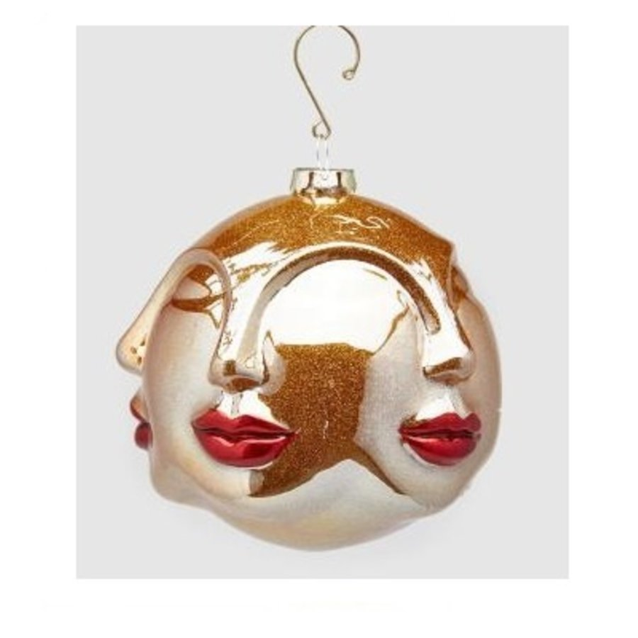 Palla Kus glas Kersthanger 12cm rood goud-1