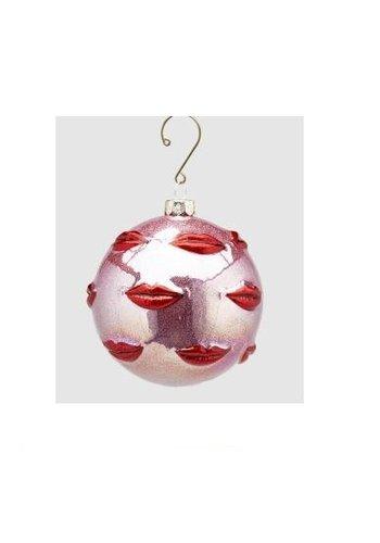 Abelia.nl Kerst Palla Kus glas Kersthanger Rood Roze