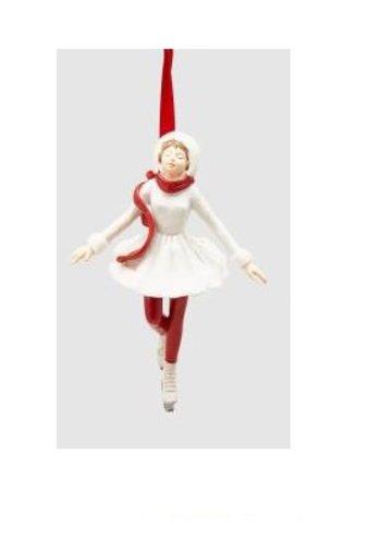 Abelia Meesterbinders Meisje op schaats wit Kersthanger