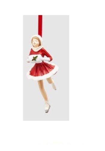 Abelia Meesterbinders Meisje op schaats rood Kersthanger