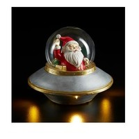 Kerstman in Ufo met verlichting