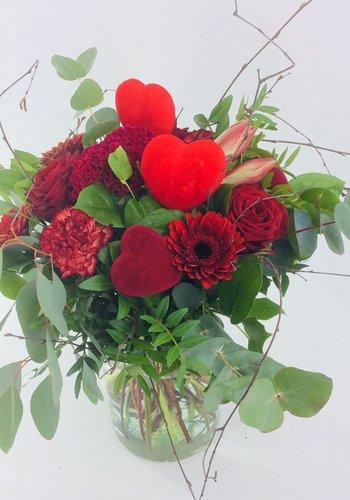 Abelia Meesterbinders Valentijn rood boeket