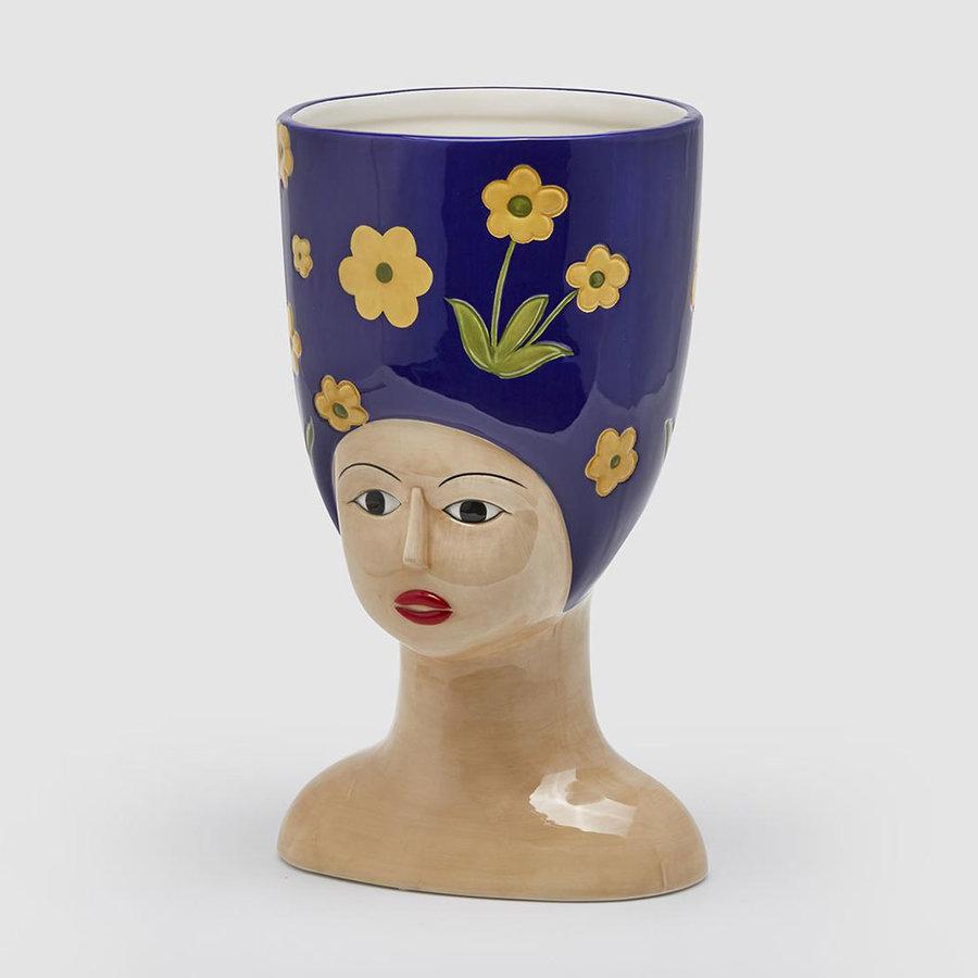Hoge hoed vaas L. donker blauw-1