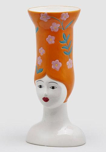 Hoge hoed vaas lang oranje