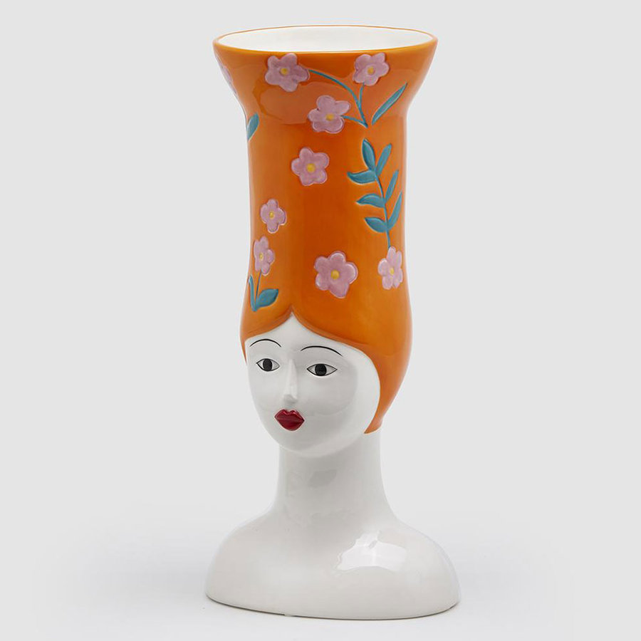 Hoge hoed vaas lang oranje-1