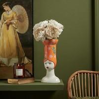 thumb-Hoge hoed vaas lang oranje-2