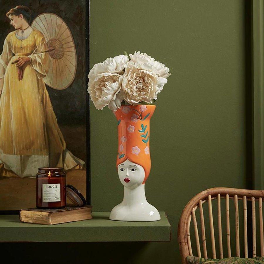 Hoge hoed vaas lang oranje-2