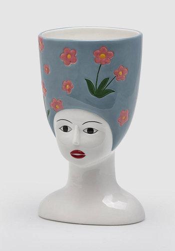 Hoge hoed vaas L. Blauw