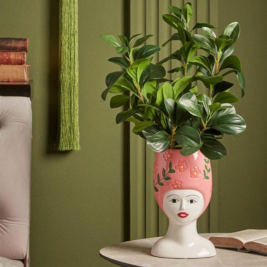 Hoge hoed vaas roze-2