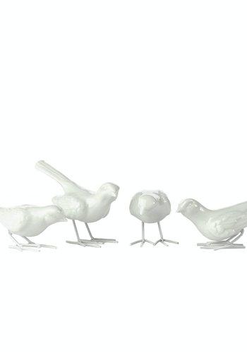 Abelia.nl Porselein Starling ironlegs white set 4