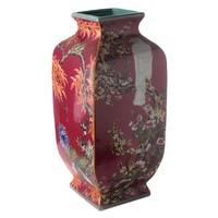 thumb-Mauve chinoiserie vierkante vaas rood-1