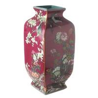 thumb-Mauve chinoiserie vierkante vaas rood-2