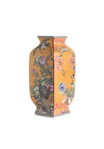 Abelia.nl Porselein Mauve chinoiserie vierkante vaas geel