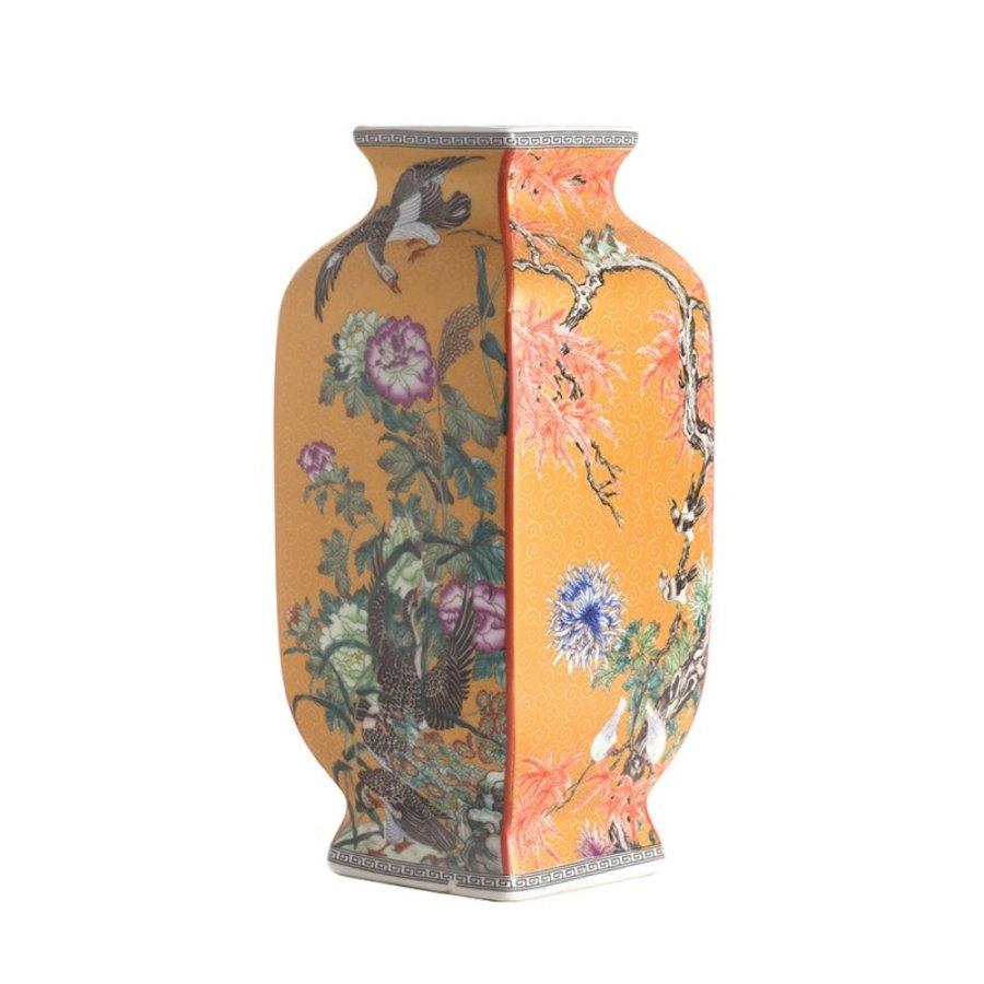 Mauve chinoiserie vierkante vaas geel-1