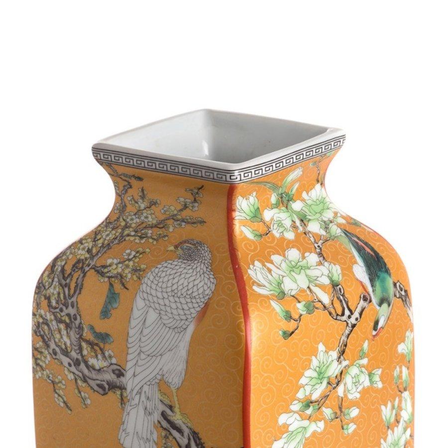 Mauve chinoiserie vierkante vaas geel-2