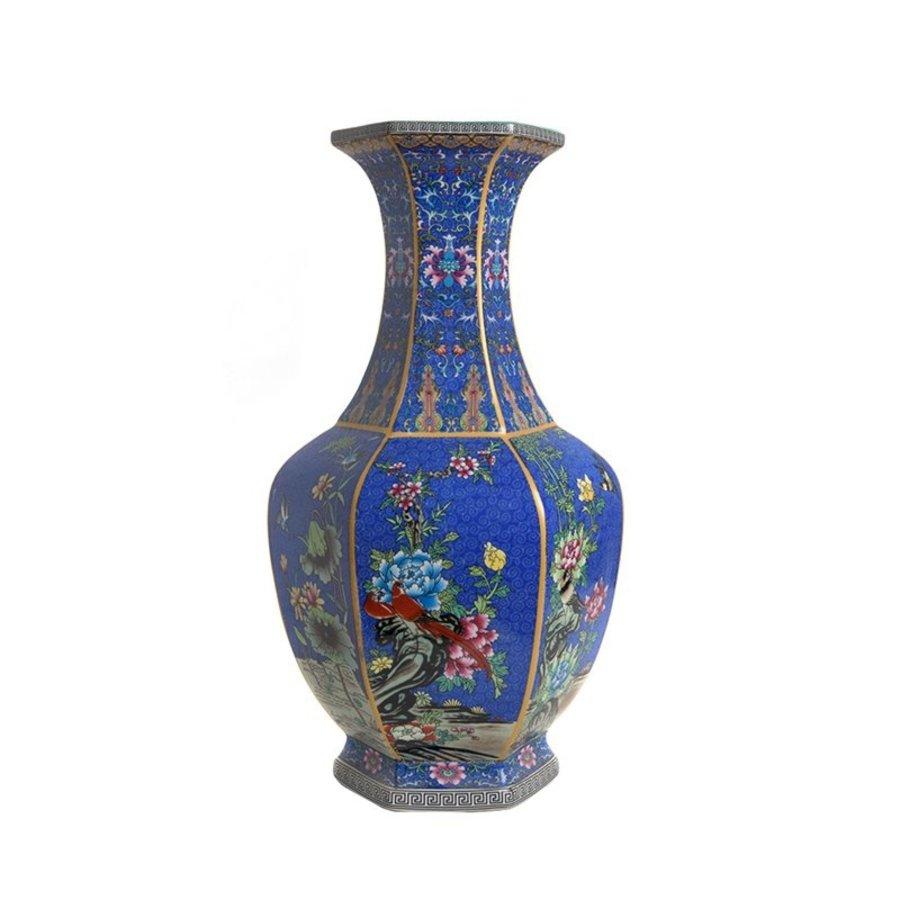 Blauwe porseleinen vaas L-1