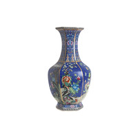 thumb-Blauwe porseleinen vaas L-2