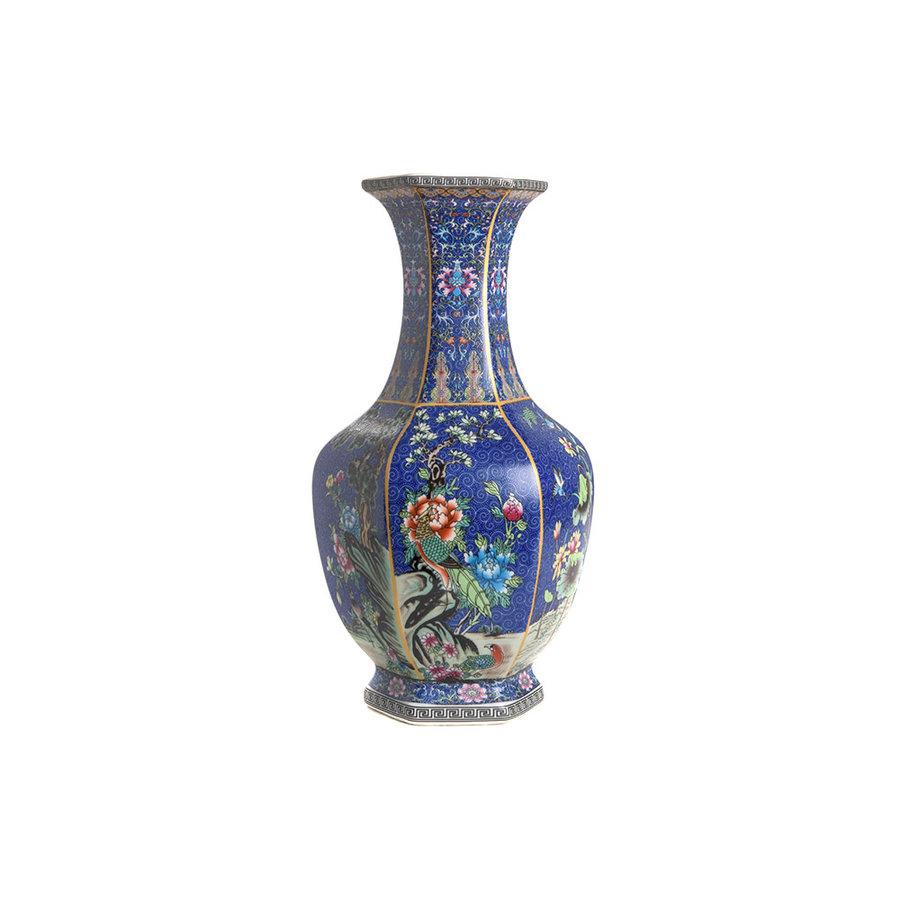 Blauwe porseleinen vaas L-2