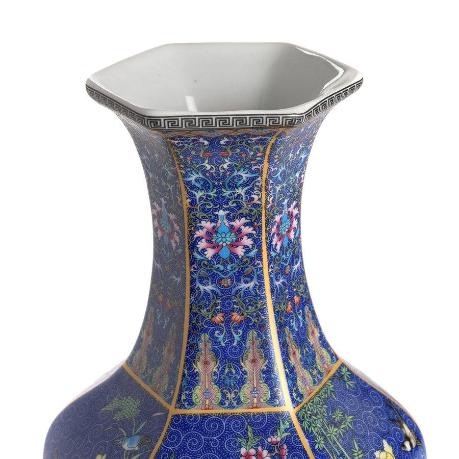 Blauwe porseleinen vaas L-3