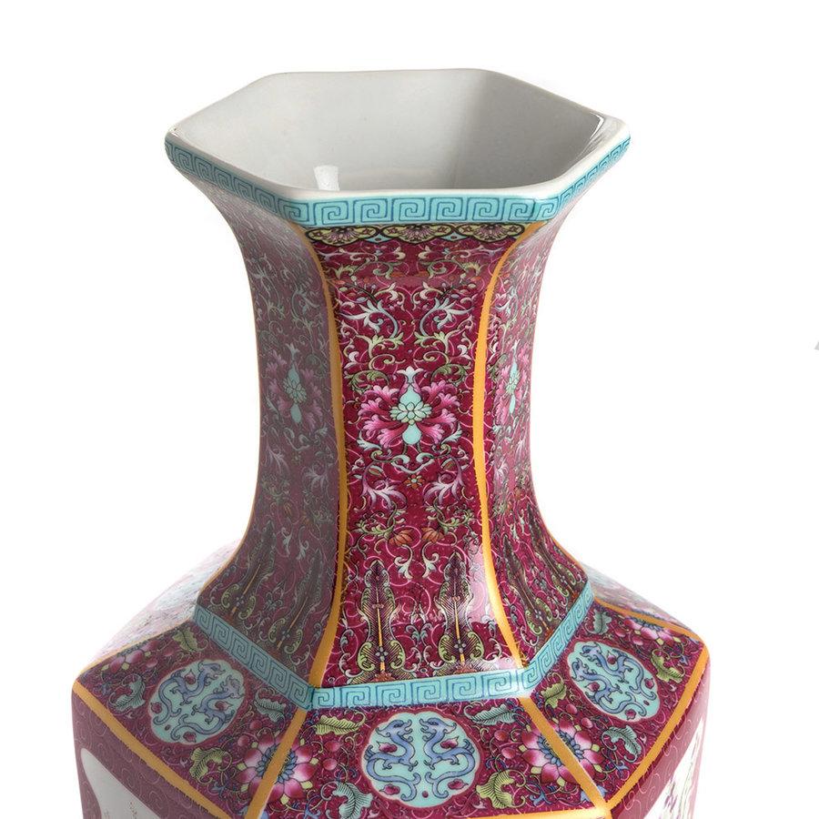 Rode en witte porseleinen vaas-2