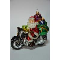 Kerstman op motorfiets