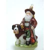 Kerstman met hond Bernard