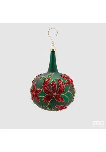 Abelia.nl Kerst Kerstbal groen met nek en bloem - Copy