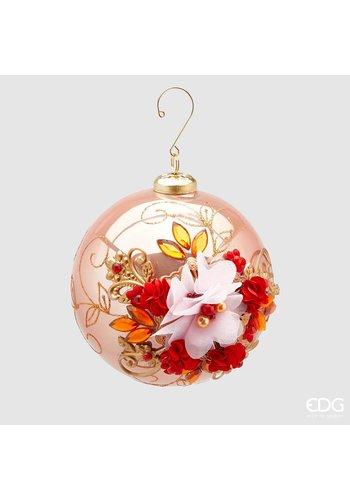 Abelia.nl Kerst Kerstbal met bloem pink