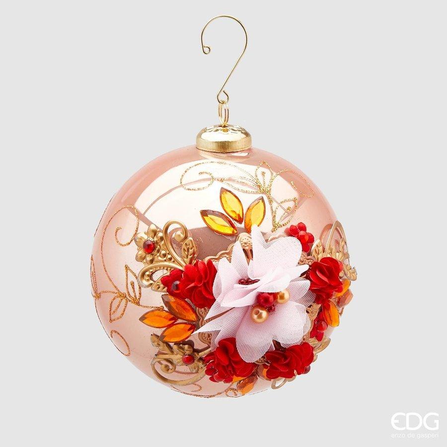 Kerstbal met bloem pink-1