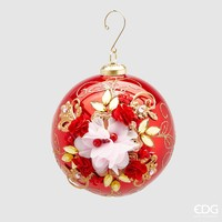 Kerstbal met bloem Red