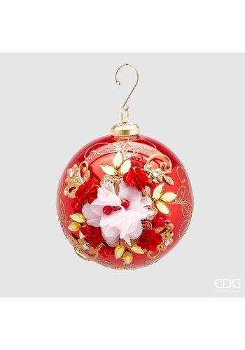 Abelia.nl Kerst Kerstbal met bloem Red