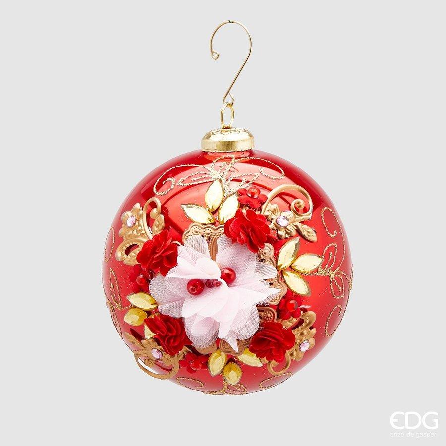 Kerstbal met bloem Red-1