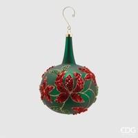 Kerstbal groen met nek en bloem Lang