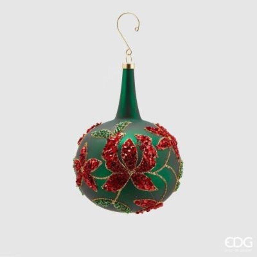 Kerstbal groen met nek en bloem Lang-1