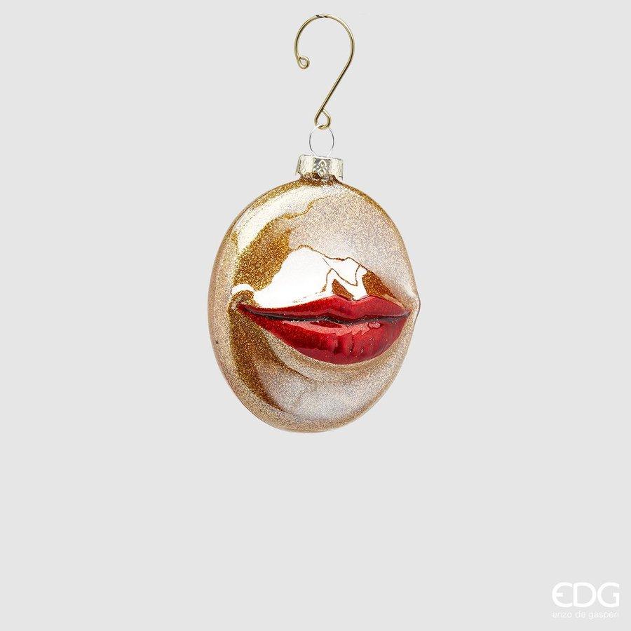 Palla Kus glas Kersthanger Rood Goud plat-1