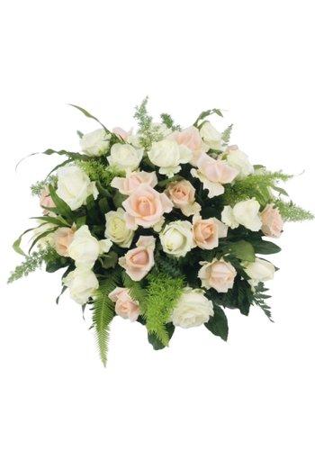 Abelia Meesterbinders Zalm en  witte rozen Biedermeier