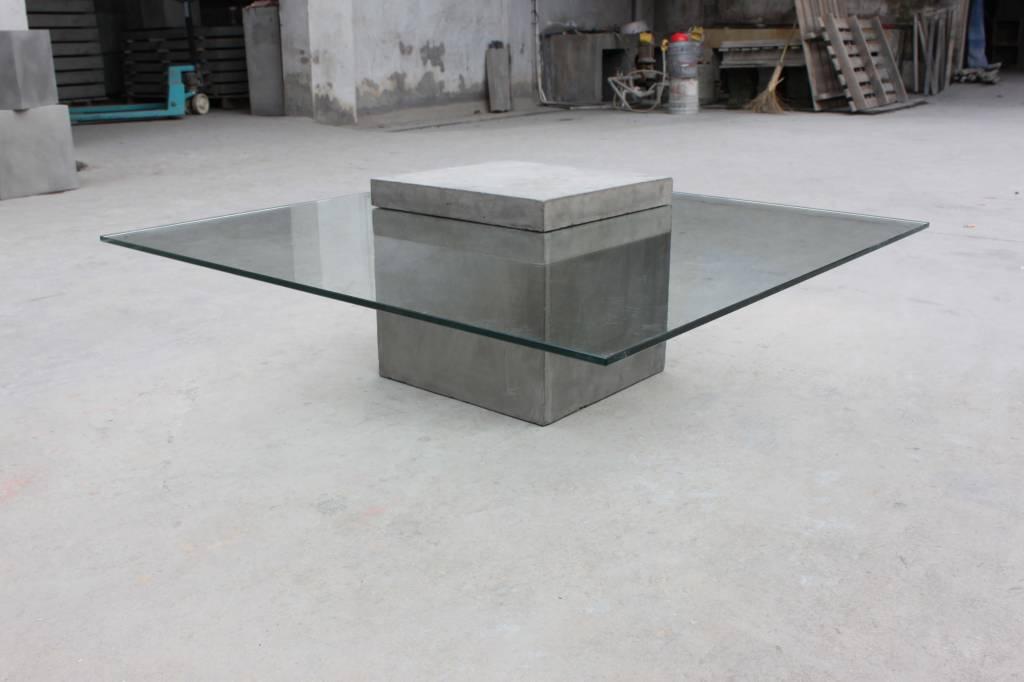 Salontafel Van Beton : Vierkante salontafel glas beton la boutique blanche