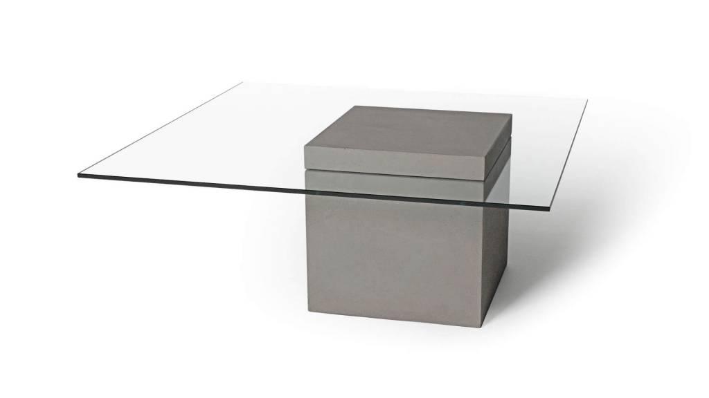 Lage Glazen Tafel.Vierkante Salontafel Glas Beton
