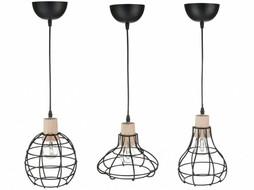 J-Line Hanglampen set van 3 metaal & hout wit