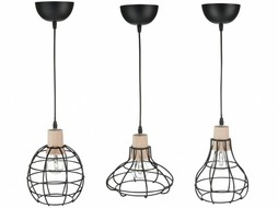 J-Line Set of 3 lamps in white metal & wood