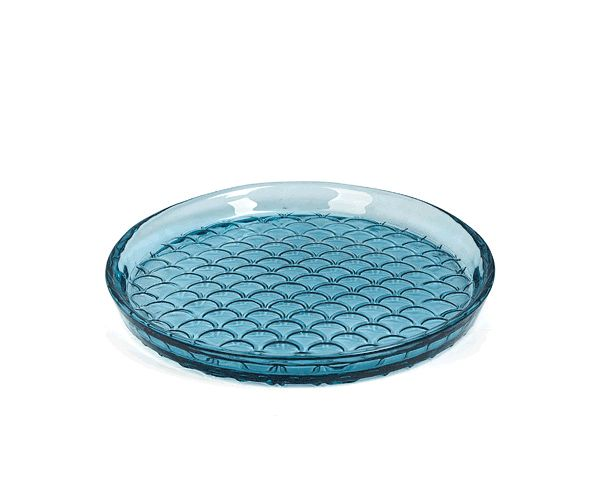 Dome Deco Glass plate blue