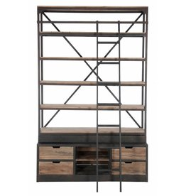 J-Line Bookshelf 4 drawers wood & metal