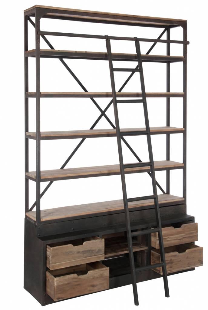 J-Line Rek 4 laden hout metaal