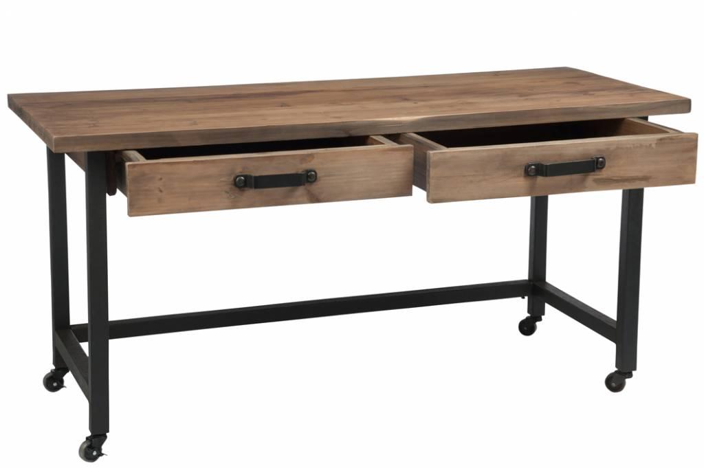 J-Line Desk wood brown black