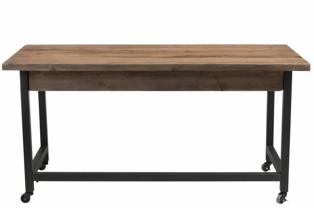 J-Line Bureau hout bruin zwart