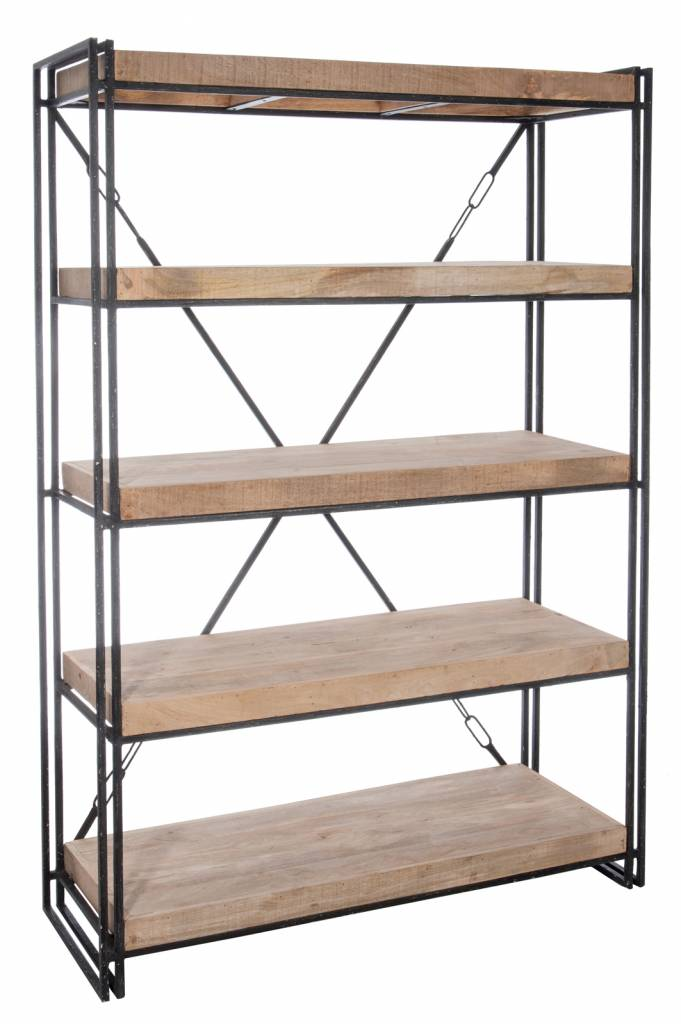 J-Line Bookshelf 4 layers metal & wood