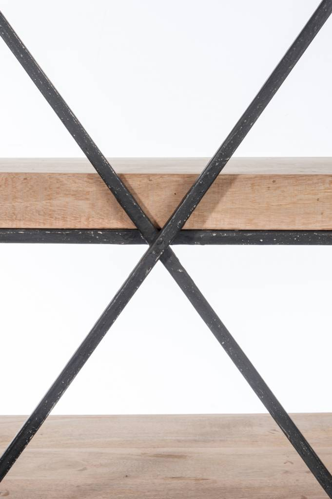 J-Line Rek 4  planken hout metaal