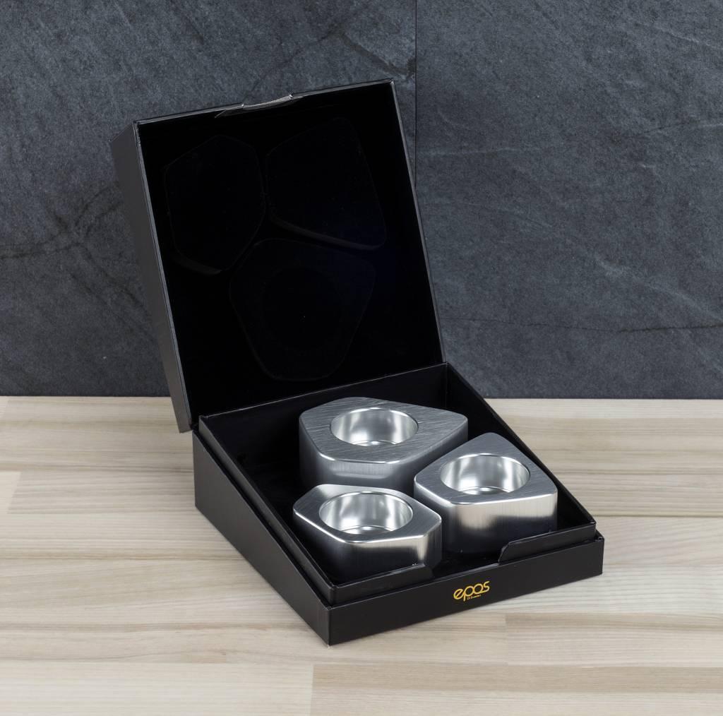 Epos of Sweden Voronoi kandelaars zilver set van 3